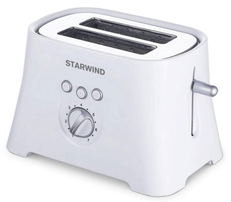Starwind SET4571, White тостерSET4571Компактный тостер Starwind SET4571 позволит вам приготовить хрустящие и ароматные тосты на завтрак. Выполнен из высококачественных материалов. 7 режимов позволяют регулируют степень поджаривания хлеба по вашему вкусу. Кнопка отмена поможет вовремя исправить сделанную спросонья ошибку. Ухаживать за тостером легко и приятно благодаря наличию поддона для крошек.