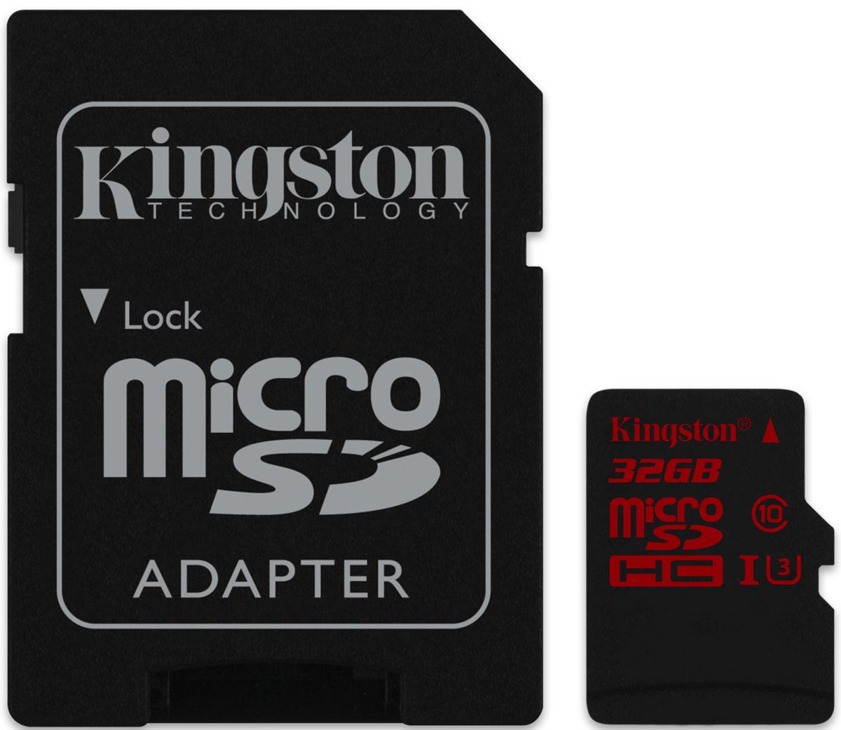 Kingston microSDHC Class 10 U3 UHS-I 32GB карта памяти с адаптеромSDCA3/32GBКарта памяти microSDHC UHS-I U3 компании Kingston обеспечивает высокую скорость класса UHS-I Class U3 до 90МБ/с (для чтения) и до 80МБ/с для записи, что позволяет записывать видео в формате Full HD (1080p), Ultra HD (2160p), 3D и 4K кинематографического качества при помощи высокопроизводительных компактных устройств, таких как смартфоны и камеры GoPro. Она также отлично подходит для прямых телевизионных трансляций и записей. Карта памяти обеспечивает высокую скорость копирования и редактирования, особенно в устройствах чтения карт памяти с интерфейсом USB 3.0. Повышенная постоянная скорость записи гарантирует целостность видео и позволяет делать серии снимков. Воспользуйтесь адаптером, чтобы использовать карту памяти в хост-устройствах SDHC со стандартным размером карты памяти SD, таких как камеры DSLR, видеокамеры и планшеты с большой диагональю экрана. Карта памяти microSDHC UHS-I U3 обеспечивает безопасное хранение фотографий, видео и других важных...