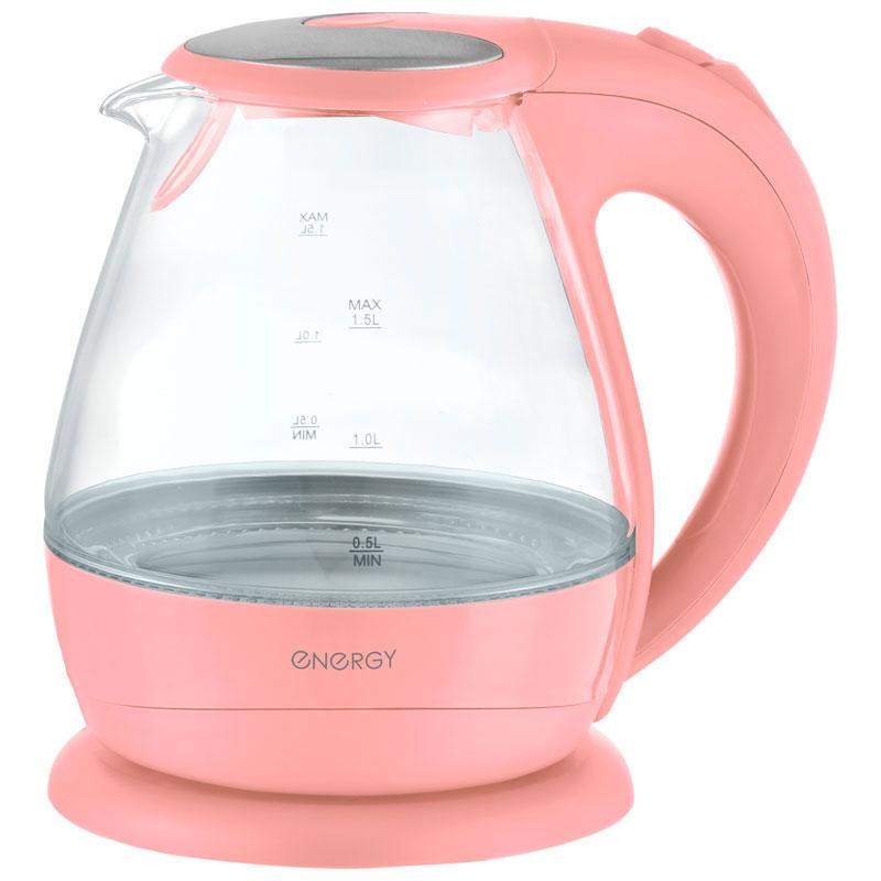 Energy E-266, Pink электрический чайник54 153242Электрический чайник Energy E-266 прост в управлении и долговечен в использовании. Корпус изготовлен из термостойкого стекла. Мощность 2200 Вт быстро вскипятит 1,5 литра воды. Беспроводное соединение позволяет вращать чайник на подставке на 360°. Для обеспечения безопасности при повседневном использовании предусмотрены функция автовыключения, а также защита от включения при отсутствии воды.