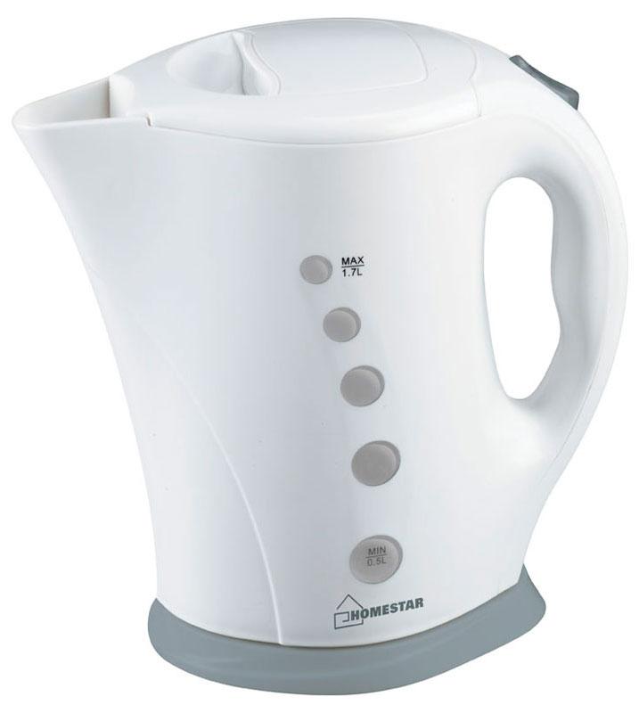 HomeStar HS-1005, White Gray электрический чайник54 002683Электрический чайник HomeStar HS-1005 прост в управлении и долговечен в использовании. Изготовлен из высококачественных материалов. Прозрачное окошко позволяет определить уровень воды. Мощность 2200 Вт вскипятит 1,7 литра воды в считанные минуты. Для обеспечения безопасности при повседневном использовании предусмотрены функция автовыключения, а также защита от включения при отсутствии воды.
