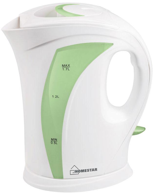 HomeStar HS-1006, White Green электрический чайник54 002685Электрический чайник HomeStar HS-1006 прост в управлении и долговечен в использовании. Изготовлен из высококачественных материалов. Прозрачное окошко позволяет определить уровень воды. Мощность 2200 Вт вскипятит 1,7 литра воды в считанные минуты. Для обеспечения безопасности при повседневном использовании предусмотрены функция автовыключения, а также защита от включения при отсутствии воды.