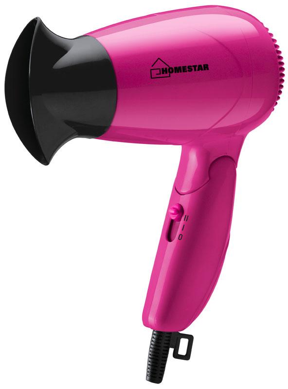HomeStar HS-8003 фен54 002807Фен HomeStar HS-8003 поможет быстро высушить и красиво уложить волосы любой длины. Данная модель практична и удобна в использовании, оснащена складной ручкой для удобного хранения и петлей для подвешивания. Фен работает в двух режимах интенсивности подачи воздуха.