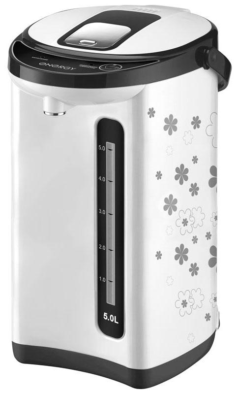 Energy TP-617, White термопот54 280302Термопот Energy TP-617 поможет не только вскипятить или подогреть воду, но и сохранить ее температуру на заданном уровне в течение нескольких часов. Благодаря этому вы избавите себя от частого подогрева воды, что, в свою очередь, обеспечит вполне реальную экономию электроэнергии. Данная модель разработана специально для тех, кому постоянно необходимо иметь в доме запас горячей воды. Мощность в режиме поддержания температуры: 35 Вт Способ подачи воды: автоматический (нажатием кружкой, нажатием кнопки) Быстрое кипячение воды Нержавеющая стальная колба Съемный шнур питания Скрытый нагревательный элемент