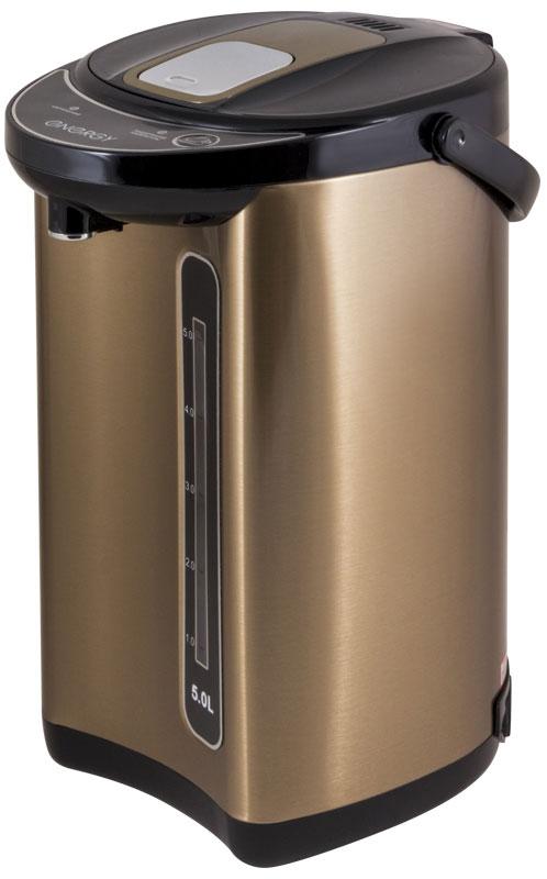 Energy TP-617, Gold термопот54 280303Термопот Energy TP-617 поможет не только вскипятить или подогреть воду, но и сохранить ее температуру на заданном уровне в течение нескольких часов. Благодаря этому вы избавите себя от частого подогрева воды, что, в свою очередь, обеспечит вполне реальную экономию электроэнергии. Данная модель разработана специально для тех, кому постоянно необходимо иметь в доме запас горячей воды. Мощность в режиме поддержания температуры: 35 Вт Способ подачи воды: автоматический (нажатием кружкой, нажатием кнопки) Быстрое кипячение воды Нержавеющая стальная колба Съемный шнур питания Скрытый нагревательный элемент