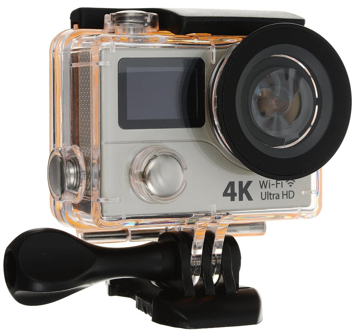 Eken H3R Ultra HD, Grey экшн-камераH3R/H8Rse_greyЭкшн-камера Eken H3R Ultra HD позволяет записывать видео с разрешением 4К и очень плавным изображением до 25 кадров в секунду. Камера имеет два дисплея: 2 TFT LCD основной экран и 0.95 OLED экран статуса (уровень заряда батареи, подключение к WiFi, режим съемки и длительность записи). Эта модель сделана для любителей спорта на улице, подводного плавания, скейтбординга, скай-дайвинга, скалолазания, бега или охоты. Снимайте с руки, на велосипеде, в машине и где угодно. По сравнению с предыдущими версиями, в Eken H3R Ultra HD вы найдете уменьшенные размеры корпуса, увеличенный до 2-х дюймов экран, невероятную оптику и фантастическое разрешение изображения при съемке 25 кадров в секунду! Управляйте вашей H3R на своем смартфоне или планшете. Приложение Ez iCam App позволяет работать с браузером и наблюдать все то, что видит ваша камера. В комплекте с камерой идет пульт ДУ работающий на частоте 2,4 ГГц. Он позволяет начинать и заканчивать съемку...