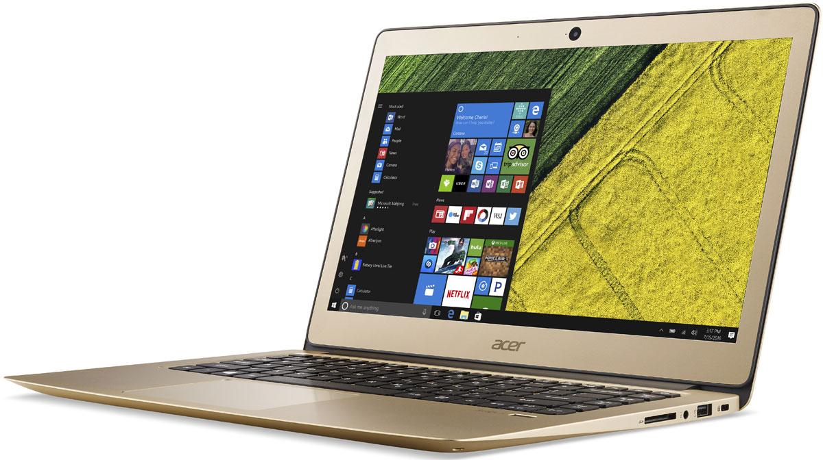 Acer Swift 3 (SF314-51-75YC), GoldSF314-51-75YCAcer Swift 3 - портативный ноутбук с толщиной корпуса 17,95 мм и весом 1,50 кг. Элегантный алюминиевый корпус красив и приятен на ощупь. Благодаря эргономичной клавиатуре с подсветкой можно набирать текст даже при слабом освещении. Благодаря автономной работе до 12 часов Swift 3 не даст заскучать в перелете от Дубая до Гонконга - и еще дальше. Оцените 3-кратное увеличение скорости беспроводного подключения благодаря технологии MU-MIMO с конфигурацией 2x2 и стандарту 802.11ac. Смотрите любимые фильмы в высоком разрешении на 14-дюймовом Full HD IPS-экране с натуральной цветопередачей. Микрофон, динамики и веб-камера с разрешением HD ноутбука Swift 3 идеально подходят для использования Skype for Business и обеспечивают непревзойденное качество связи при организации совещаний в видеочате. Порт USB 3.1 Type-C поддерживает сверхбыструю передачу данных, а через порт USB 3.0 вы сможете заряжать свои устройства, когда ноутбук выключен. ...