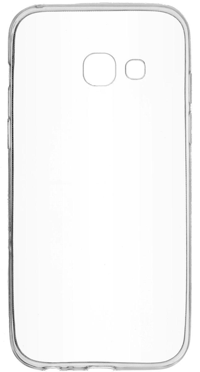 Skinbox Slim Silicone чехол для Samsung Galaxy A3 (2017), Transparent2000000126470Чехол надежно защищает ваш смартфон от внешних воздействий, грязи, пыли, брызг. Он также поможет при ударах и падениях, не позволив образоваться на корпусе царапинам и потертостям. Чехол обеспечивает свободный доступ ко всем функциональным кнопкам смартфона и камере.