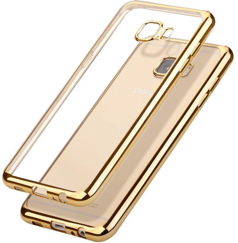 Skinbox 4People Silicone Chrome Border чехол для Samsung Galaxy A3 (2017), Gold2000000125015Чехол надежно защищает ваш смартфон от внешних воздействий, грязи, пыли, брызг. Он также поможет при ударах и падениях, не позволив образоваться на корпусе царапинам и потертостям. Чехол обеспечивает свободный доступ ко всем функциональным кнопкам смартфона и камере.