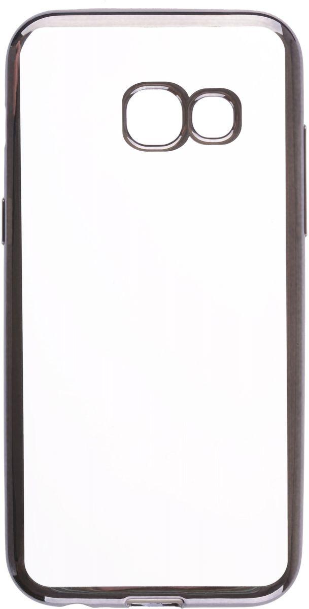 Skinbox 4People Silicone Chrome Border чехол для Samsung Galaxy A3 (2017), Dark Silver2000000131863Чехол надежно защищает ваш смартфон от внешних воздействий, грязи, пыли, брызг. Он также поможет при ударах и падениях, не позволив образоваться на корпусе царапинам и потертостям. Чехол обеспечивает свободный доступ ко всем функциональным кнопкам смартфона и камере.