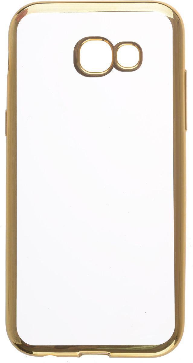 Skinbox 4People Silicone Chrome Border чехол для Samsung Galaxy A5 (2017), Gold2000000125039Чехол надежно защищает ваш смартфон от внешних воздействий, грязи, пыли, брызг. Он также поможет при ударах и падениях, не позволив образоваться на корпусе царапинам и потертостям. Чехол обеспечивает свободный доступ ко всем функциональным кнопкам смартфона и камере.