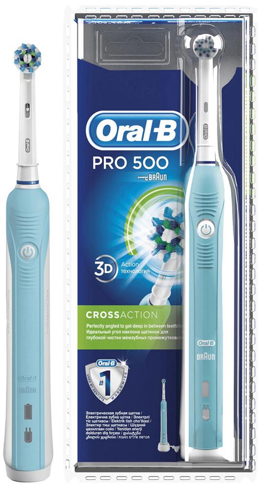Электрическая зубная щетка Oral-B PRO 500 Cross Action (blister)CRS-80273547Электрическая зубная щетка Oral-B PRO 500 удаляет до двух раз больше зубного налета, чем мануальная зубная щетка. Благодаря профессионально разработанному дизайну насадки CrossAction, щетинки, расположенные под углом 16?, окружают каждый зуб, бережно удаляя налет даже из труднодоступных мест и вдоль линии десны. Комплектация: аккумуляторная электрическая зубная щетка с 1 режимом чистки: «Ежедневная чистка» (1 шт.), сменная насадка CrossAction (1 шт.), зарядное устройство (1 шт.) Подходит для детей с 3 лет. 8800 возвратно-вращательных движений + 20000 пульсирующих движений. Перейдите на новый уровень чистки за 2 минуты! * Удаляет до 100% больше зубного налета, чем мануальная зубная щетка, а также улучшает состояние десен. * Голубые щетинки Indicator обесцвечиваются наполовину, сигнализируя о необходимости замены насадки. Регулярно меняйте насадку, чтобы постоянно получать превосходный результат (менять насадку рекомендуется в среднем раз в...