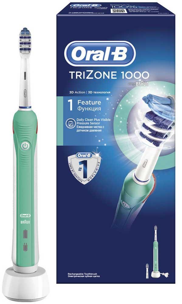 Электрическая зубная щетка Oral-B TriZone 100080228231Благодаря специально разработанному дизайну головки зубная щетка TriZone достает до трудноступных мест, очищает поверхность зубов и проникает между зубами. Щетка разработана специально для тех, кто привык к классической технике чистки мануальной щеткой (выметающими движениями). Oral-B Trizone - единственная электрическая зубная щётка с использованием технологии трёхзонной чистки: Выступающие щетинки Power Tip очищают труднодоступные места, стационарная пульсирующая щетина качественно очищает поверхность зубов, а удлиненная вращающаяся пульсирующая щетина проникает в межзубное пространство. Головка щётки на 20% меньше по размеру, но покрывает площадь на 43% больше, чем головка мануальной щётки. Комплектация: аккумуляторная электрическая зубная щетка (1 шт.), сменная насадка Trizone (2 шт.), зарядное устройство (1 шт.) - Голубые щетинки Indicator обесцвечиваются наполовину, сигнализируя о необходимости замены насадки (чтобы постоянно получать...
