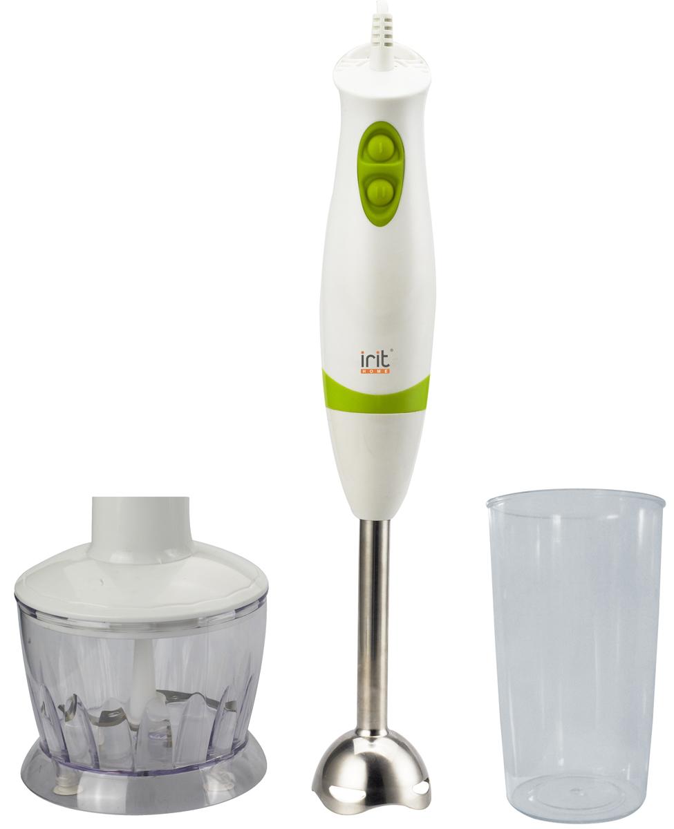 Irit IR-5507 блендер79 02249Удобный погружной блендер Irit IR-5507 несомненно станет незаменимым помощником для любой хозяйки. С помощью него вы сможете измельчить или перемешать различные ингредиенты при приготовлении молочных или фруктовых коктейлей, овощных пюре и других блюд. Блендер оснащен двумя скоростями, которые позволяют контролировать степень измельчения продукта и добиться наилучшей консистенции. Корпус прибора выполнен из прочного пластика, а насадки имеют лезвия и ножи, изготовленные из качественного металла.