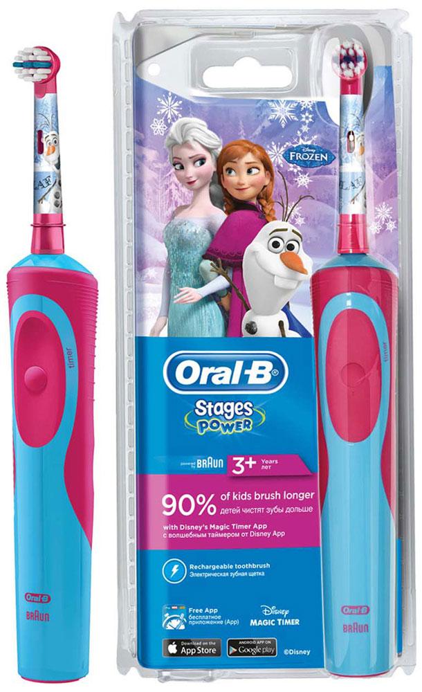 Детская электрическая зубная щетка Oral-B Stages Power Frozen80279915Электрическая зубная щетка Oral-B Stages Power Kids с веселыми героями мультфильма Холодное сердце прекрасно чистит зубы и удобно ложится в маленькие ручки ребенка. Эта аккумуляторная электрическая зубная щетка с экстрамягкими щетинками специально разработана для детей и совместима с приложением Disney MagicTimer от Oral-B. Скачайте приложение, чтобы помочь вашим детям чистить зубы рекомендуемые стоматологом 2 минуты и выработать правильные привычки по уходу за полостью рта, которые останутся с ребенком на всю жизнь. Приложение позволяет создать индивидуальный профиль с любимыми героями от Disney,имеет визуальный игровой таймер (мотивируя детей чистить зубы рекомендованные две минуты), а также систему вознаграждений за регулярную чистку и бесстрашные походы к врачу. Oral-B Vitality Frozen имеет 2D-технологию чистки и совершает 7000 возвратно-вращательных движений в минуту. Подходит для детей с 3 лет.