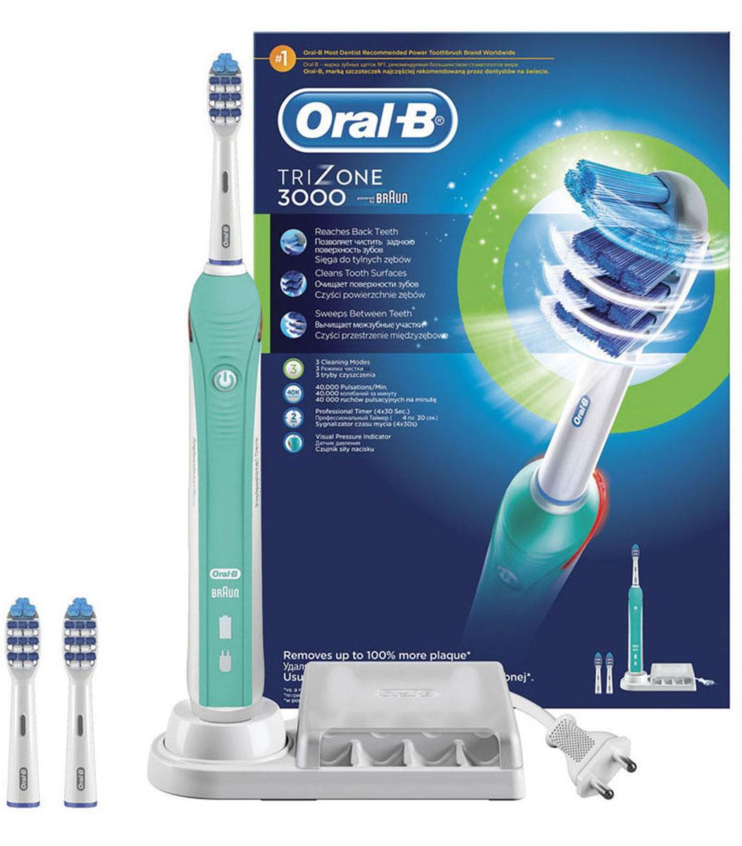 Электрическая зубная щетка Oral-B TriZone 3000CRS-80228236Благодаря специально разработанному дизайну головки зубная щетка TriZone достает до трудноступных мест, очищает поверхность зубов и проникает между зубами. Щетка разработана специально для тех, кто привык к классической технике чистки мануальной щеткой (выметающими движениями). Oral-B Trizone - единственная электрическая зубная щётка с использованием технологии трёхзонной чистки: Выступающие щетинки Power Tip очищают труднодоступные места, стационарная пульсирующая щетина качественно очищает поверхность зубов, а удлиненная вращающаяся пульсирующая щетина проникает в межзубное пространство. Головка щётки на 20% меньше по размеру, но покрывает площадь на 43% больше, чем головка мануальной щётки. Комплектация: аккумуляторная электрическая зубная щетка (1 шт.), сменная насадка Trizone (3 шт.), зарядное устройство (1 шт.) Три режима чистки: «Ежедневная чистка», «Для чувствительных зубов» и «Отбеливание». - Голубые щетинки Indicator...