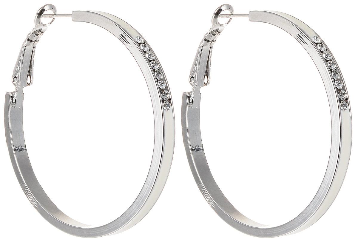 Серьги Art-Silver, цвет: белый. 15527Б-47315527Б-473Бижутерный сплав, эмаль, куб.циркон.