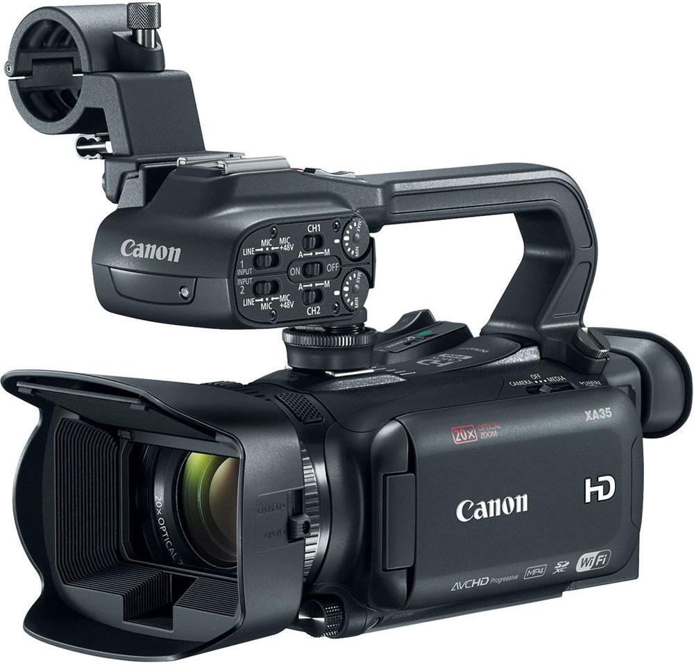 Canon XA35, Black профессиональная видеокамера1003C003Компактная многофункциональная видеокамера Canon XA35 имеет широкий динамический диапазон и разъем HD/SD-SDI, что отвечает всем требованиям профессиональной мобильной журналистики и корреспондентов, которым необходимо выполнять съемку незаметно, особенно в сложных условиях высококонтрастного освещения. Снимайте видеоролики превосходного качества благодаря универсальному широкоугольному объективу 26,8 мм камеры XA35. 20x зум позволяет приблизиться к объекту съемки, а динамический оптический стабилизатор изображения компенсирует сотрясения в 5 направлениях, обеспечивая высокую плавность изображения. 8- лепестковая ирисовая диафрагма с максимальным значением f/1.8 и технология EDM позволяют достичь приятного эффекта боке. Новый датчик Canon HD CMOS Pro с эффективным количеством пикселей 2,91 МП позволяет получать изображения в формате Full HD превосходного качества. Благодаря повышенной чувствительности и улучшенному отношению сигнал/шум...