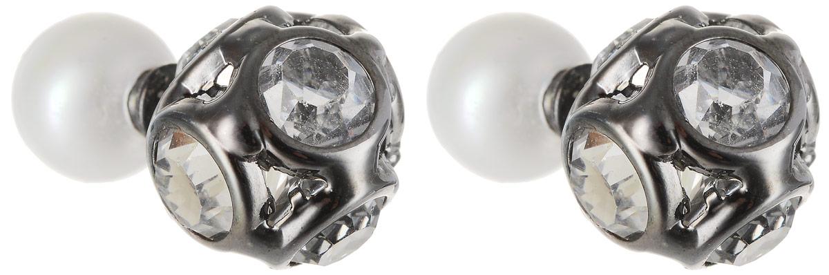 Серьги Art-Silver, цвет: черный. КФ9-337КФ9-337Бижутерный сплав, майорика, куб.циркон.
