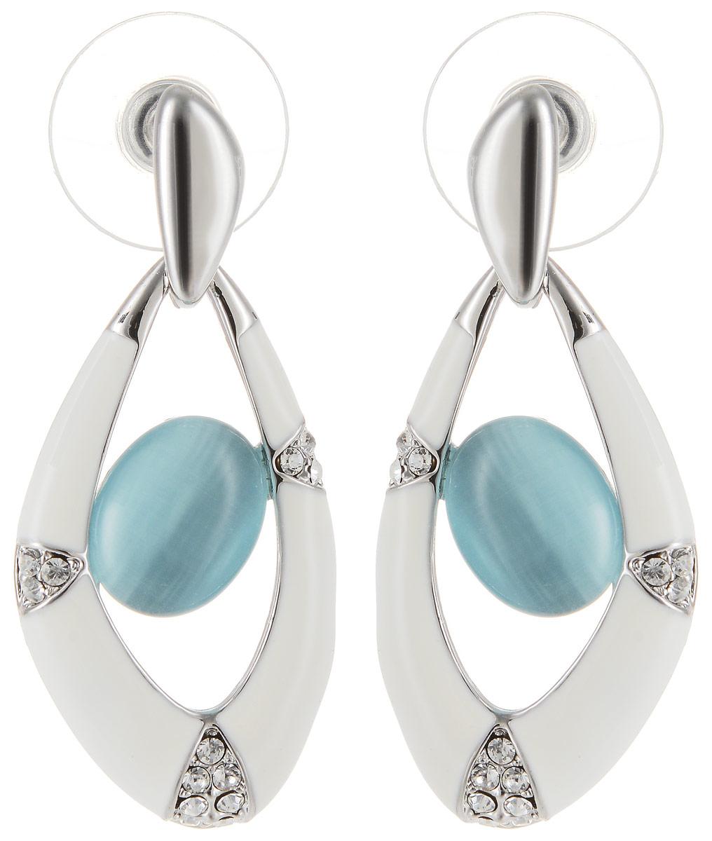 Серьги Art-Silver, цвет: белый. 0669930-8790669930-879Бижутерный сплав, кош.глаз, куб.циркон, эмаль.