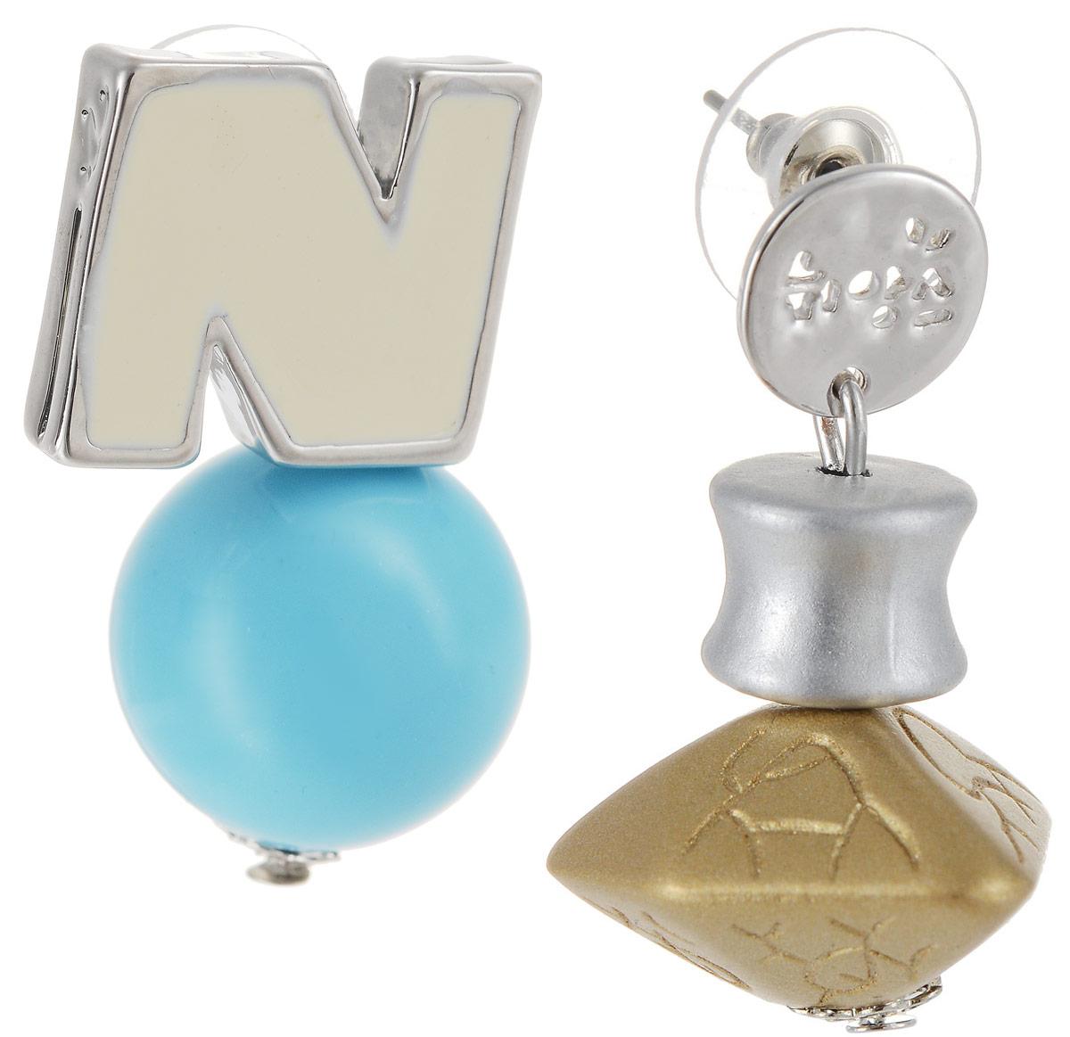 Серьги Art-Silver, цвет: серебряный. СРГГ44-332СРГГ44-332Бижутерный сплав, полимер, эмаль.