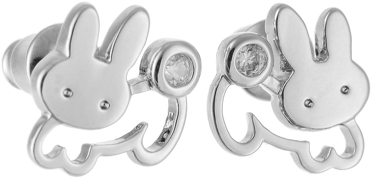 Серьги Art-Silver, цвет: серебряный. 01973-33801973-338Бижутерный сплав, куб.циркон.
