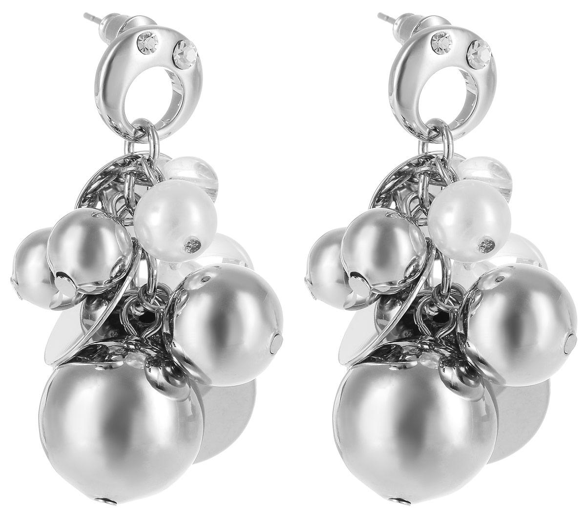 Серьги Art-Silver, цвет: серебряный. СРГ107-482СРГ107-482Бижутерный сплав, юв.пластик, майорика.