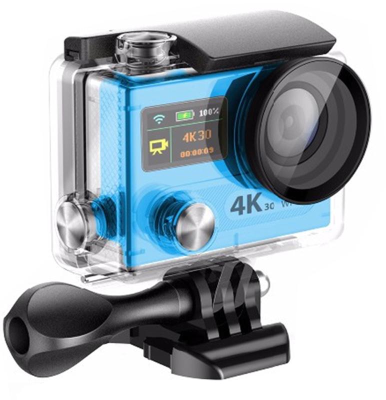 Eken H8 PRO Ultra HD, Blue экшн-камераH8PRO BLUEЭкшн-камера Eken H8 PRO Ultra HD позволяет записывать видео с разрешением 4К и очень плавным изображением до 30 кадров в секунду. Камера имеет два дисплея: 2 TFT LCD основной экран и 0.95 OLED экран статуса (уровень заряда батареи, подключение к Wi-Fi, режим съемки и длительность записи). Эта модель сделана для любителей спорта на улице, подводного плавания, скейтбординга, скай-дайвинга, скалолазания, бега или охоты. Снимайте с руки, на велосипеде, в машине и где угодно. По сравнению с предыдущими версиями, в Eken H8 PRO Ultra HD вы найдете уменьшенные размеры корпуса, увеличенный до 2-х дюймов экран, невероятную оптику и фантастическое разрешение изображения при съемке 30 кадров в секунду! Управляйте вашей H8 PRO на своем смартфоне или планшете. Приложение Ez iCam App позволяет работать с браузером и наблюдать все то, что видит ваша камера. В комплекте с камерой идет пульт ДУ работающий на частоте 2,4 Ггц. Он позволяет начинать и заканчивать съемку удаленно. ...