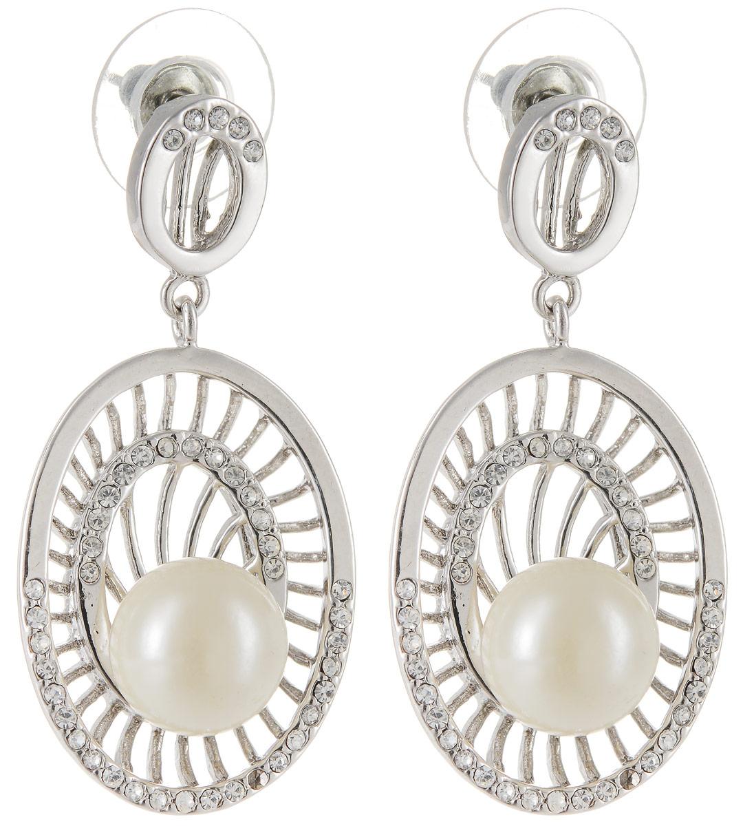 Серьги Art-Silver, цвет: серебряный. 013825-679013825-679Бижутерный сплав, майорика, куб.циркон.