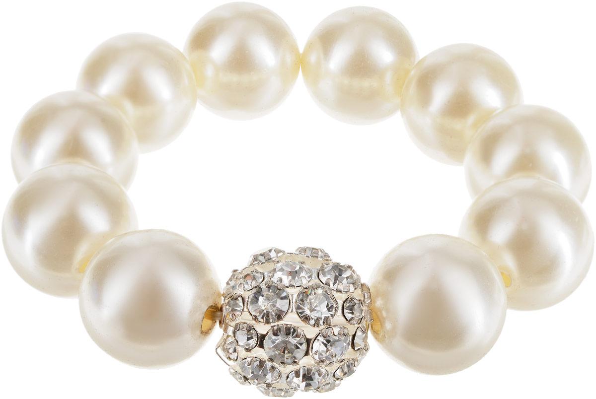Браслет женский Art-Silver, цвет: белый. 6203-3426203-342Бижутерный сплав, куб.циркон, майорика.