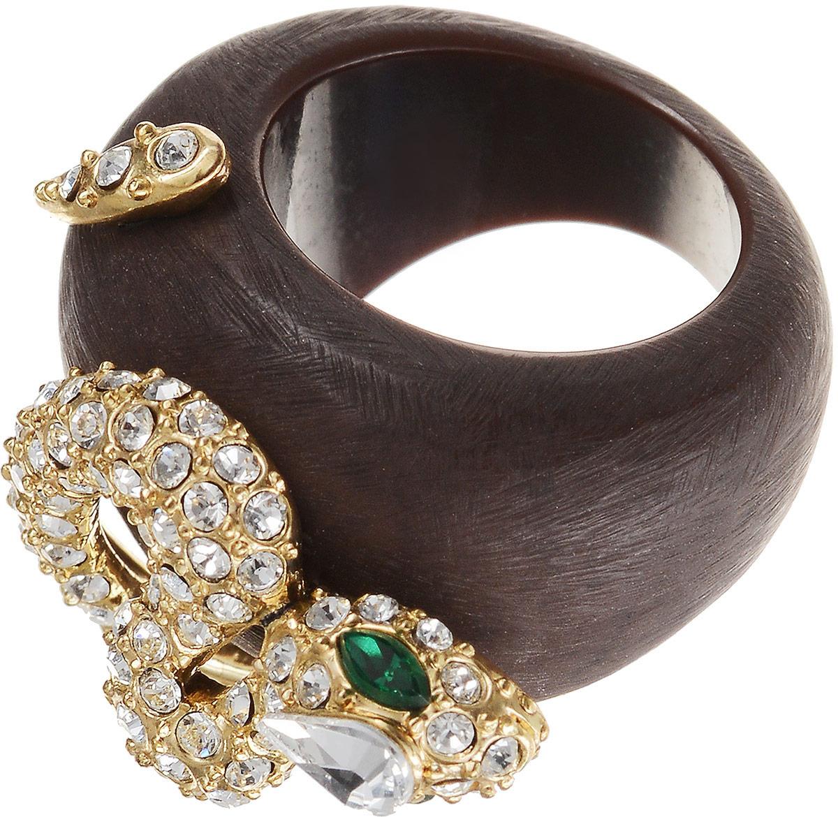 Кольцо женское Art-Silver, цвет: коричневый. М456-500. Размер 17,5М456-500Бижутерный сплав, куб.циркон, дерево, золото 0,01мкрн.