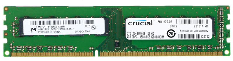 Crucial DDR3 4GB 1600МГц модуль оперативной памятиCT51264BD160BНебуферезированная память Crucial DDR3 предоставляет качество работы, надежность и производительность, требуемую для современных компьютеров сегодня. Этот модуль емкостью 4 ГБ, спроектирован для работы на частоте 1600 МГц PC3-12800 при таймингах CL-11.