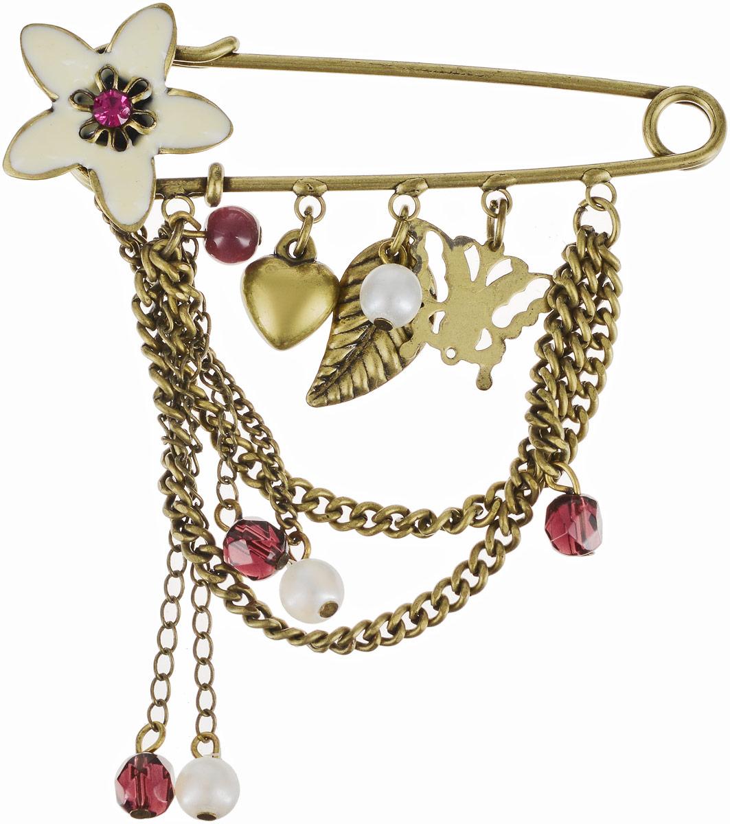 Брошь женская Art-Silver, цвет: золотой. 15787-19415787-194Бижутерный сплав, полимер, куб.циркон.