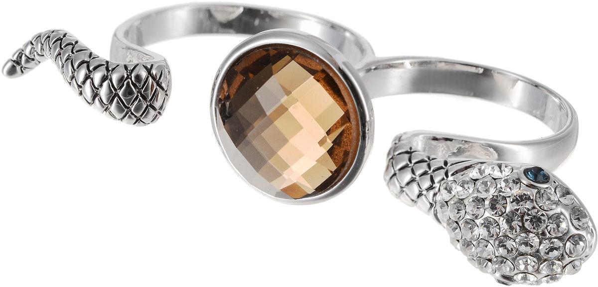 Кольцо Art-Silver, цвет: серебряный, бежевый. 02029-1-1116. Размер 1802029-1-1116Оригинальное кольцо Art-Silver выполнено из бижутерного сплава с гальваническим покрытием. Кольцо на два пальца в виде змеи украшено декоративными вставками. Элегантное кольцо Art-Silver превосходно дополнит ваш образ и подчеркнет отменное чувство стиля своей обладательницы.
