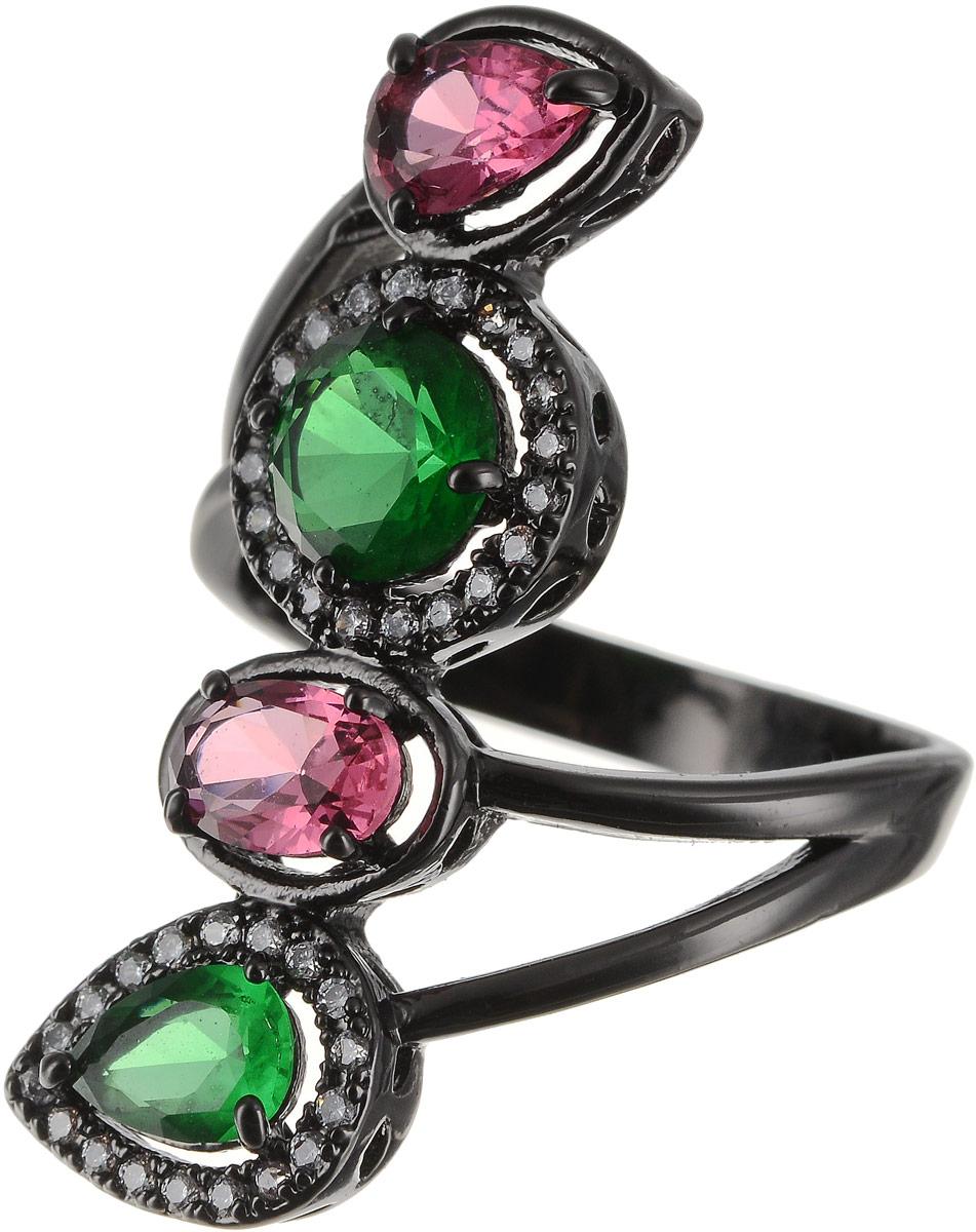 Кольцо женское Art-Silver, цвет: черный. 810998-802-1114. Размер 16,5810998-802-1114Бижутерный сплав, куб.циркон.