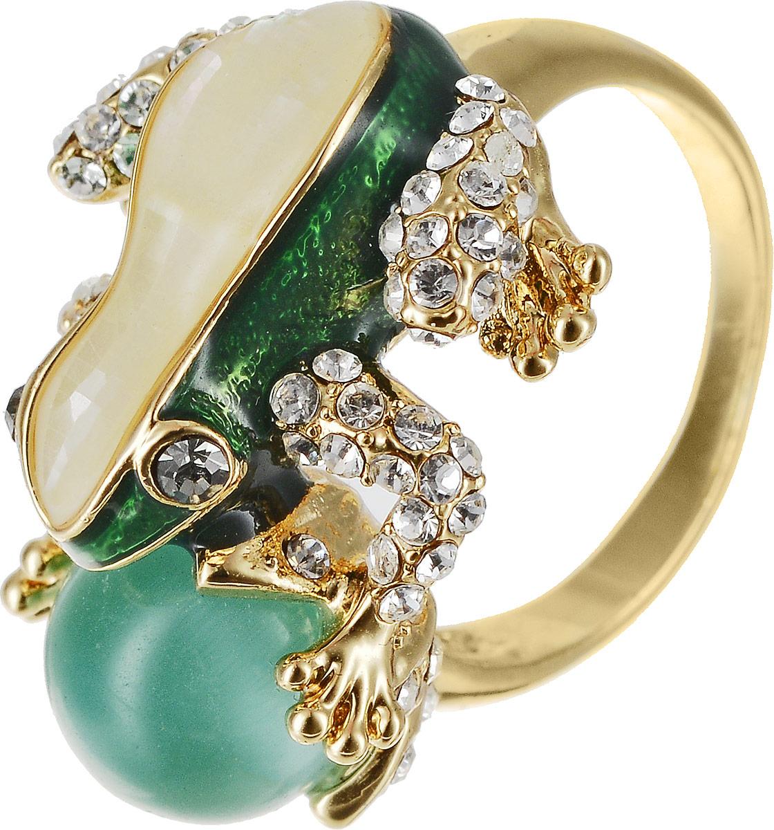 Кольцо Art-Silver, цвет: золотой, зеленый. 055R-1283. Размер 17,5055R-1283Оригинальное кольцо Art-Silver выполнено из бижутерного сплава с гальваническим покрытием. Кольцо украшено декоративными вставками. Элегантное кольцо Art-Silver превосходно дополнит ваш образ и подчеркнет отменное чувство стиля своей обладательницы.