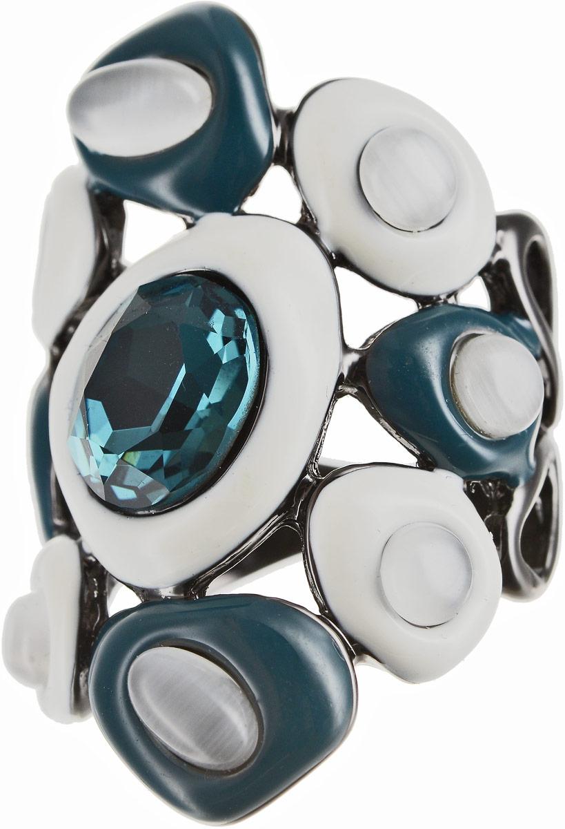 Кольцо Art-Silver, цвет: черный, белый, бирюзовый. 066760-1-850. Размер 16,5