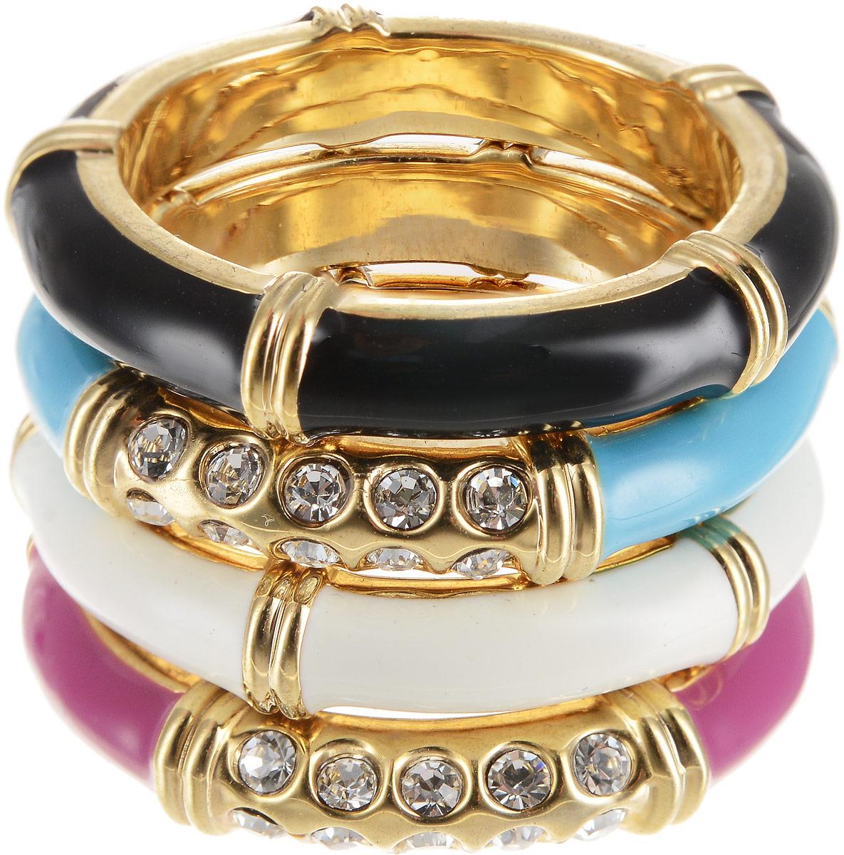 Кольцо женское Art-Silver, цвет: золотой. 00608-1154. Размер 1700608-1154Бижутерный сплав, эмаль, куб.циркон, золото 0,01мкрн.