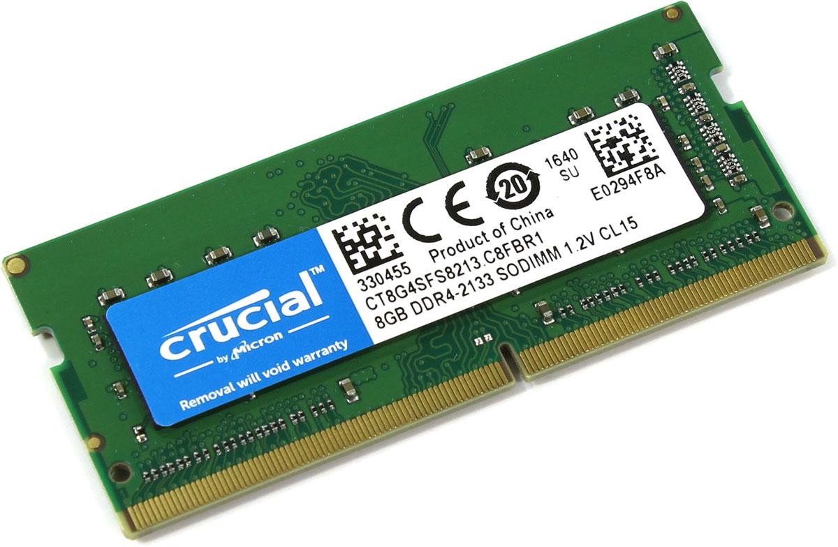 Crucial SODIMM DDR4 8GB 2133МГц модуль оперативной памятиCT8G4SFS8213Модуль оперативной памяти для ноутбуков Crucial CT8G4SFS8213 обеспечивает увеличенную рабочую частоту при сниженном тепловыделении и экономном энергопотреблении. Напряжение питания при работе составляет 1,2 В. При производстве оперативной памяти использовались только передовые технологи, с использованием качественных и прочных материалов, которые после установки позволят ноутбуку работать быстро, плавно, без зависаний. Мощная начинка способна работать с частотой 2133 МГц, а пропускная способность достигает 17000 Мб/с. Объем памяти составляет - 8 гигабайт. Отличные характеристики, которые смогут удовлетворить потребности большинства пользователей.