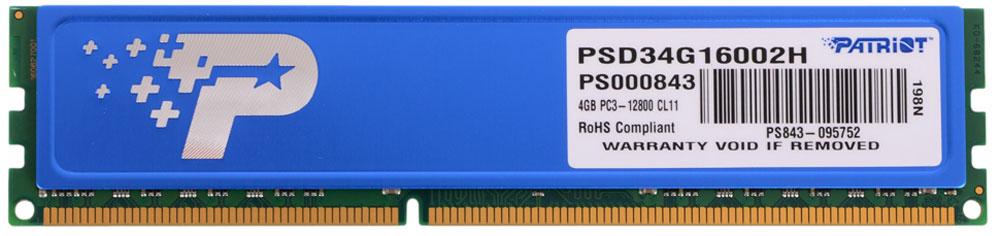 Patriot DDR3 DIMM 4Gb 1600МГц модуль оперативной памяти (PSD34G16002H)
