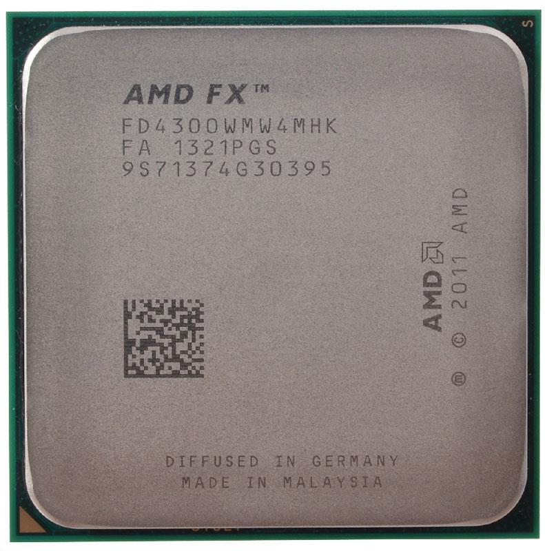 AMD FX-4300 процессор (FD4300WMW4MHK)FD4300WMW4MHKПроцессор AMD FX-4300 подойдет для настольных персональных компьютеров, основанных на платформе AMD. Данная модель имеет разблокированный множитель, а также встроенный двухканальный контроллер памяти DDR3. Процессор поддерживает все основные технологии AMD: AMD64 Enhanced Virus Protection, HyperTransport, PowerNow! / CoolnQuiet, Turbo Core 3.0, Virtualization