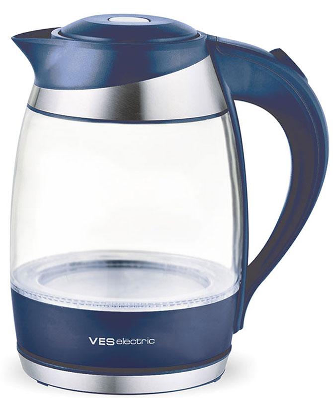 Ves 2002-DB электрический чайникVES2002-DBЭлектрический чайник Ves 2002-DB прост в управлении и долговечен в использовании. Изготовлен из высококачественных материалов. Имеет синюю подсветку емкости. Мощность 2200 Вт вскипятит 1,8 литра воды в считанные минуты. Беспроводное соединение позволяет вращать чайник на подставке на 360°. Для обеспечения безопасности при повседневном использовании предусмотрены функция автовыключения, а также защита от включения при отсутствии воды.