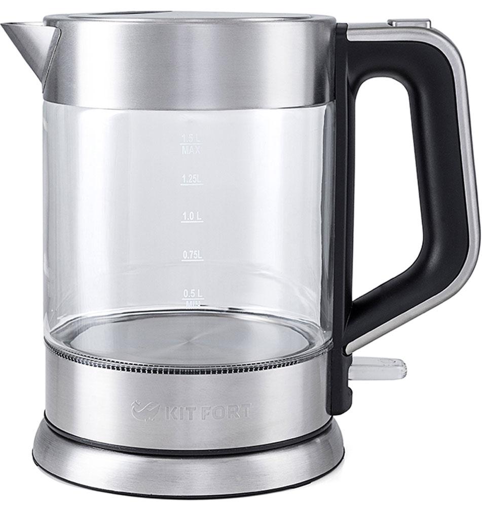 Kitfort КТ-617 чайник электрическийКТ-617Электрический чайник Kitfort КТ-617 предназначен для кипячения воды дома, в офисах и на дачах. Мощность чайника позволяет использовать его в домах со слабой проводкой. В носик чайника встроен фильтр. Корпус чайника Kitfort КТ-617 выполнен из стекла, а крышка и подставка — из сочетания пластмассы и нержавеющей стали. Мерная шкала нанесена на прозрачную часть корпуса. Большое горлышко чайника облегчает доступ внутрь при мытье и во время удаления накипи. Ручка чайника пластиковая, не нагревается и удобно лежит в руке. Кнопка открывания крышки расположена сверху на ручке, а кнопка включения — внизу. При включении чайника загорается синяя подсветка, которая является индикатором работы и одновременно художественно подсвечивает кипящую воду. Нагревательный элемент (ТЭН) у этой модели чайника скрытый и находится в дне. Сверху он закрыт специальной металлической пластиной из нержавеющей стали, благодаря которой исключается прямой контакт ТЭНа с...