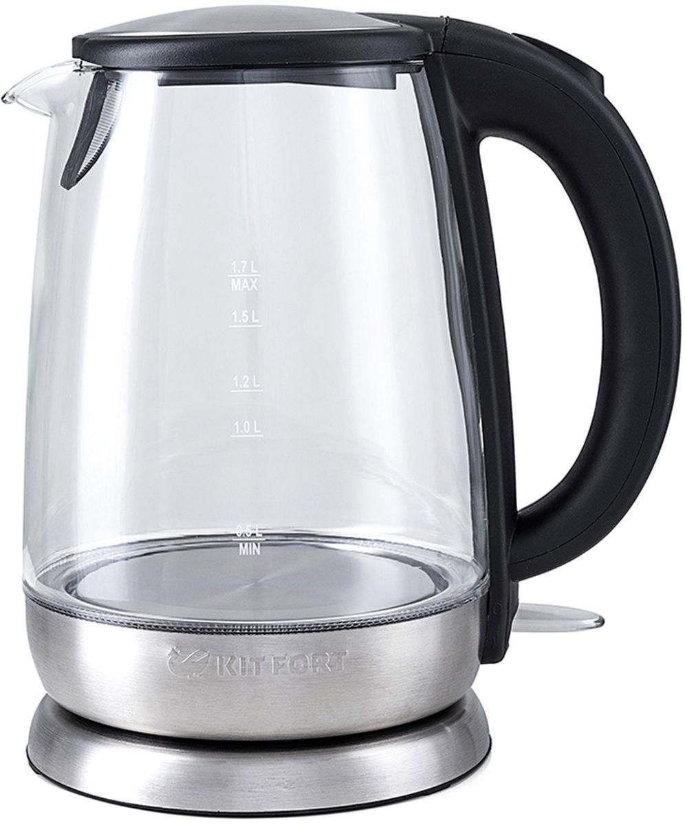 Kitfort КТ-619 чайник электрическийКТ-619Электрический чайник Kitfort КТ-619 предназначен для кипячения воды дома, в офисах и на дачах. Мощность чайника позволяет использовать его в домах со слабой проводкой. В носик чайника встроен фильтр. Корпус чайника Kitfort КТ-619 выполнен из стекла, а крышка и подставка — из сочетания пластмассы и нержавеющей стали. Мерная шкала нанесена на прозрачную часть корпуса. Большое горлышко чайника облегчает доступ внутрь при мытье и во время удаления накипи. Ручка чайника пластиковая, не нагревается и удобно лежит в руке. Кнопка открывания крышки расположена сверху на ручке, а кнопка включения — внизу. При включении чайника загорается синяя подсветка, которая является индикатором работы и одновременно художественно подсвечивает кипящую воду. Нагревательный элемент (ТЭН) у этой модели чайника скрытый и находится в дне. Сверху он закрыт специальной металлической пластиной из нержавеющей стали, благодаря которой исключается прямой контакт ТЭНа с...