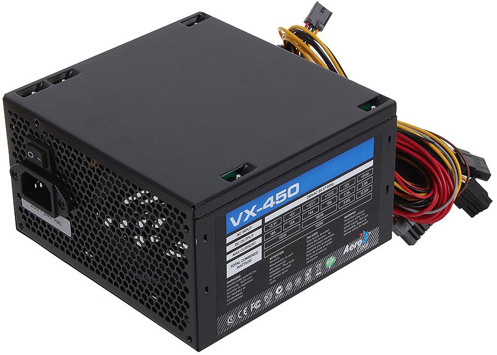 Aerocool VX-450W блок питания для компьютера4713105953558Aerocool VX-450W - это эффективный, надёжный и недорогой блок питания с низким уровнем шумов и помех. Блоки питания линейки VX – самые доступные в ассортименте Aerocool и предназначены для систем начального уровня. Они собраны из высококачественных компонентов и обеспечивают стабильное и надёжное питание для всего системного блока. Хотя устройства линейки VX предназначены для сборки систем начального уровня, Aerocool снабдила их всем необходимым. БП VX работает без шумов и помех, защищён от перепадов напряжения в сети и оборудован 12-см вентилятором с умным управлением скоростью вращения.