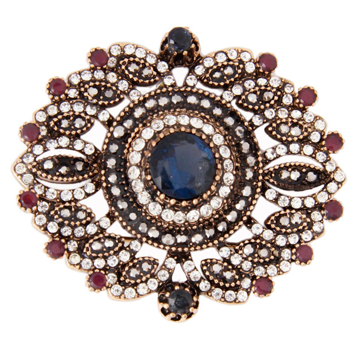 """Брошь """"Баус"""" в византийском стиле. Бижутерный сплав, австрийские кристаллы, искусственные камни. Конец XX века ОС30202"""