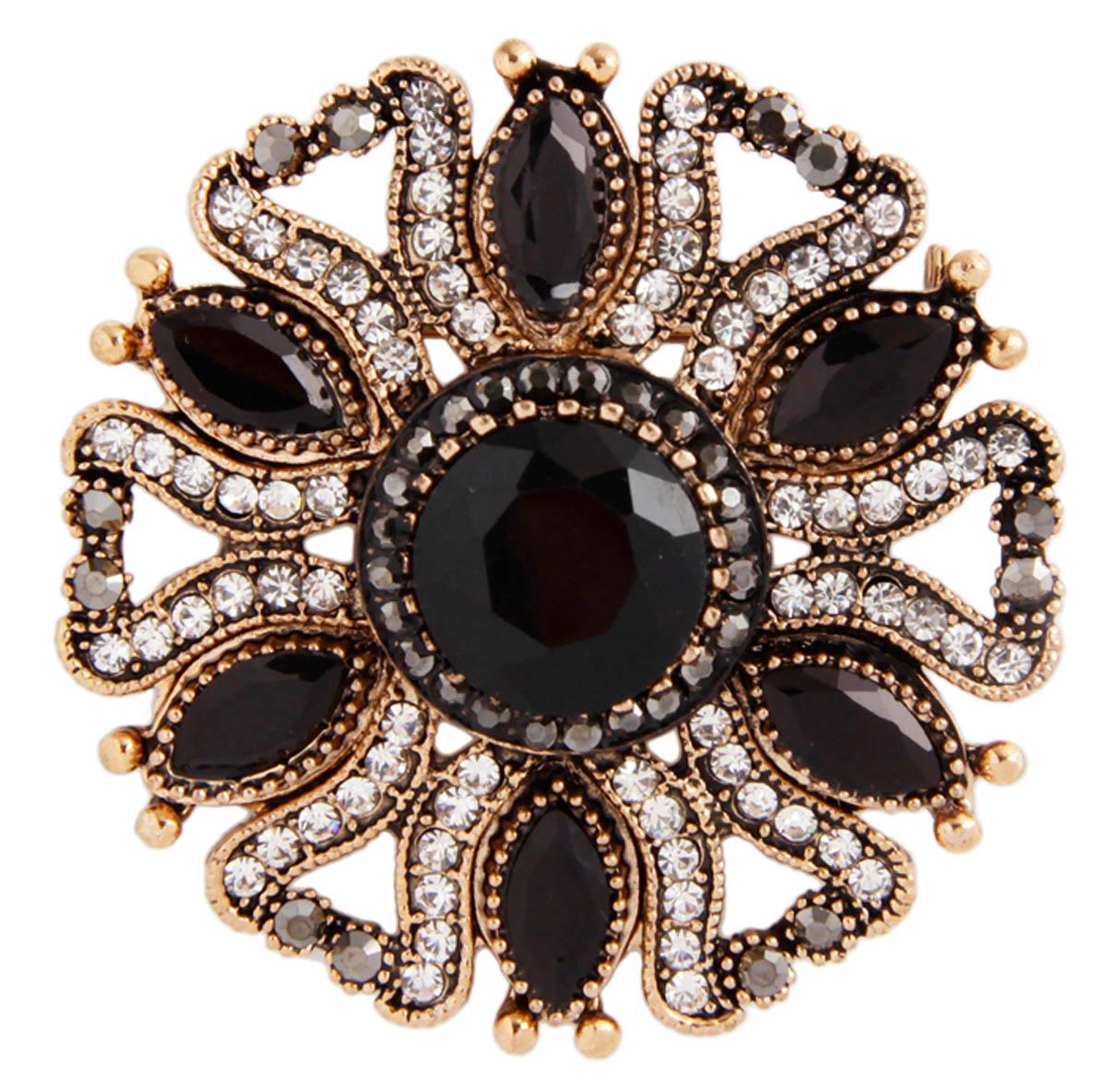 """Брошь """"Элизиум"""" в византийском стиле. Бижутерный сплав, австрийские кристаллы. Конец XX века ОС30203"""