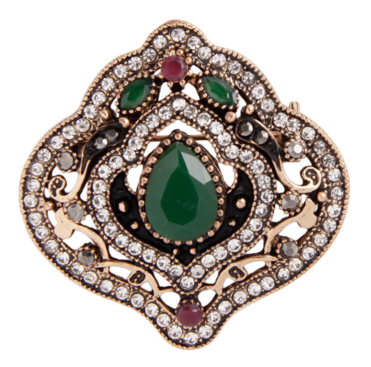 """Брошь-подвеска """"Босфорские мотивы"""" в византийском стиле. Бижутерный сплав, австрийские кристаллы, искусственные камни. Конец XX века"""