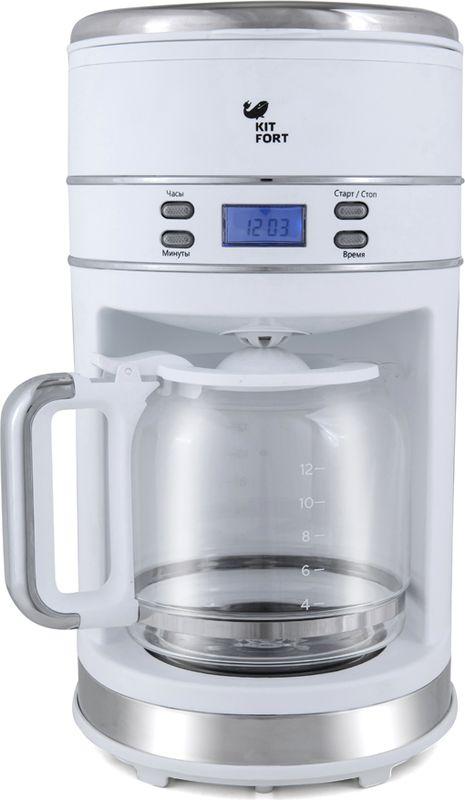 Kitfort КТ-704-1, White кофеваркаКТ-704-1Капельная кофеварка Kitfort КТ-704 готовит ароматный кофе одним нажатием кнопки. Таймер отложенного старта позволяет запрограммировать момент включения кофеварки. С вечера залейте в резервуар воду, засыпьте в фильтр молотый кофе и установите таймер, а утром, проснувшись, наслаждайтесь ароматом свежезаваренного кофе. Функция автоматического отключения обеспечивает безопасное использование прибора и экономию электроэнергии.