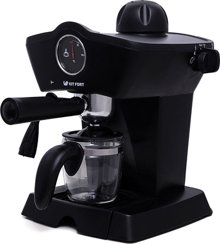 Kitfort КТ-706 кофеваркаКТ-706Рожковая полуавтоматическая эспрессо-кофеварка Kitfort КТ-706 может приготовить до 4 чашек кофе за один раз, оснащена функцией взбивания молока для приготовления капучино, латте или торо, а также поможет разогреть напитки горячим паром. Принцип действия кофеварки Kitfort КТ-706 основан на пропускании горячей воды под давлением в несколько атмосфер через слой молотого кофе. Температура воды контролируется встроенным термостатом. Это позволяет быстро и полно экстрагировать из кофейной заварки все полезные вещества и получить отличный кофе эспрессо с пенкой. Готовый кофе наливается в подставленную чашку или специальный кофейник, идущий в комплекте. Корпус кофеварки выполнен из пластика. На панели управления установлен термометр для отображения температуры воды в бойлере. Металлический фильтр с лазерным нанесением отверстий долговечен и не требует использования каких-либо расходных материалов. Длина шнура: 75 см