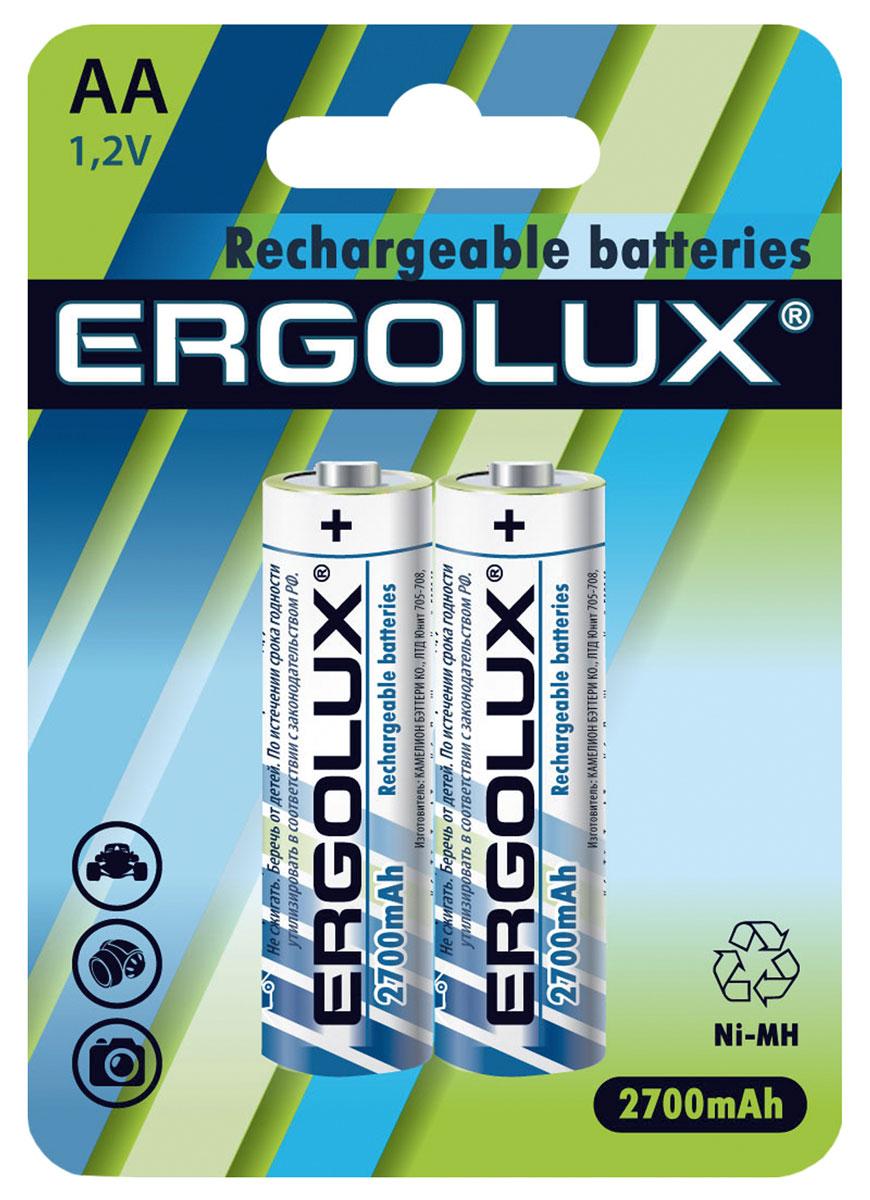 Батарейка Ergolux АА, аккумуляторная, 27000 мАч, 2 шт.12445